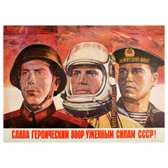 Original Vintage Poster Hero Military Glory Red Army Soviet Navy Air Force USSR