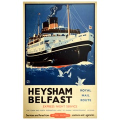 Original Vintage Poster Heysham Belfast Royal Mail Ship British Railways Travel