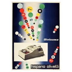 Original Vintage Poster Hispano Olivetti Divisuma Electric Calculator Midcentury