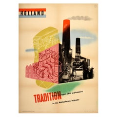 Original Vintage Poster Holland Tradition Tools Skill Netherlands Industry Photo