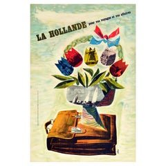 Original Vintage Poster Holland Travel Business Industry Sailing Windmill Tulips