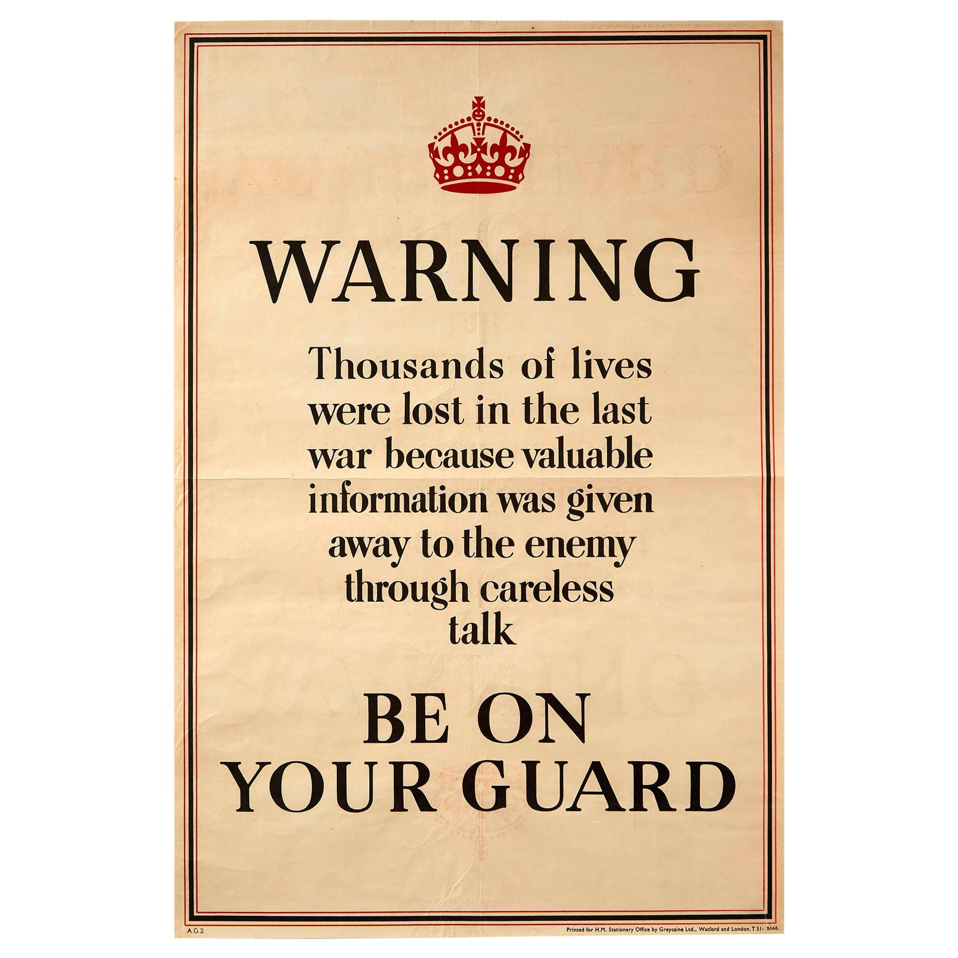 Original Vintage Poster Home Front WWII Warning Careless Talk Be On Your Guard