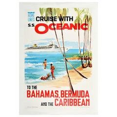 Original Vintage Poster Home Lines Cruise S.S. Oceanic Bahamas Bermuda Caribbean