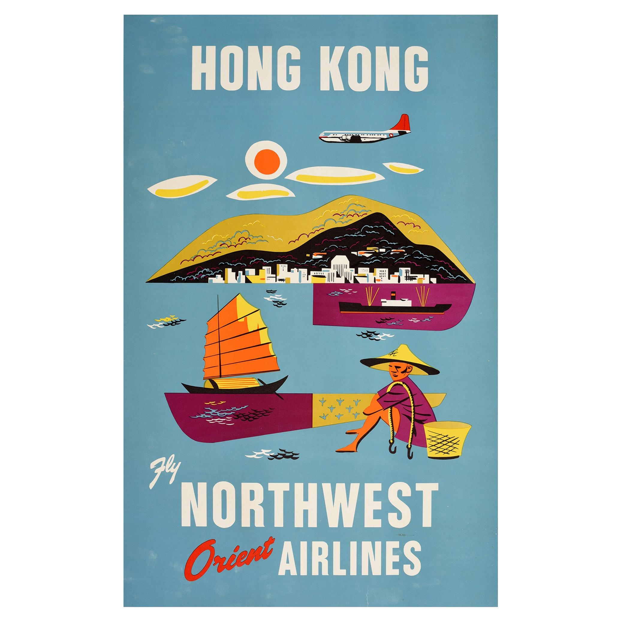 Original Vintage Poster Hong Kong Fly Northwest Orient Airlines Asia Travel Art