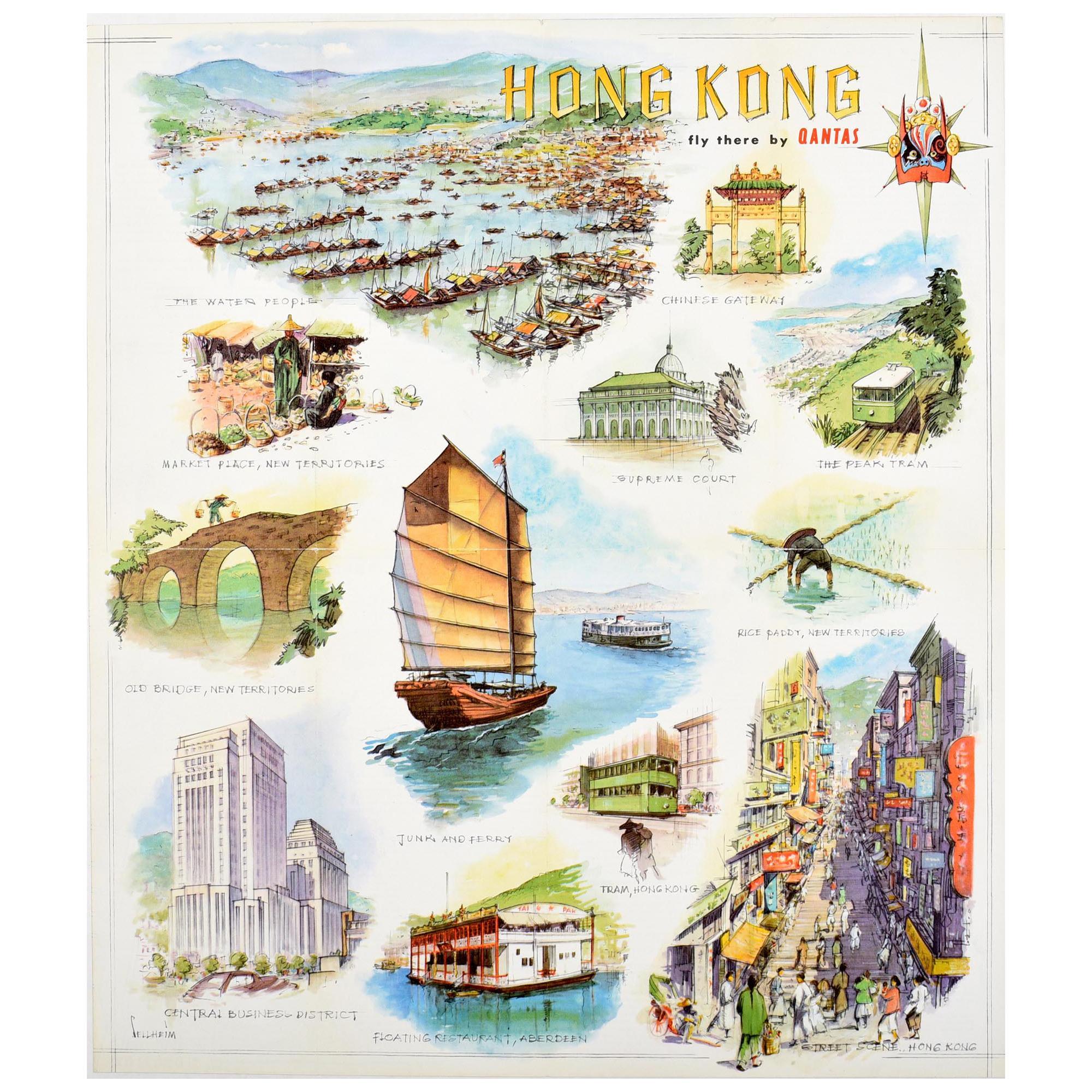 Original Vintage Poster Hong Kong Fly There By Qantas Travel Art Illustrations