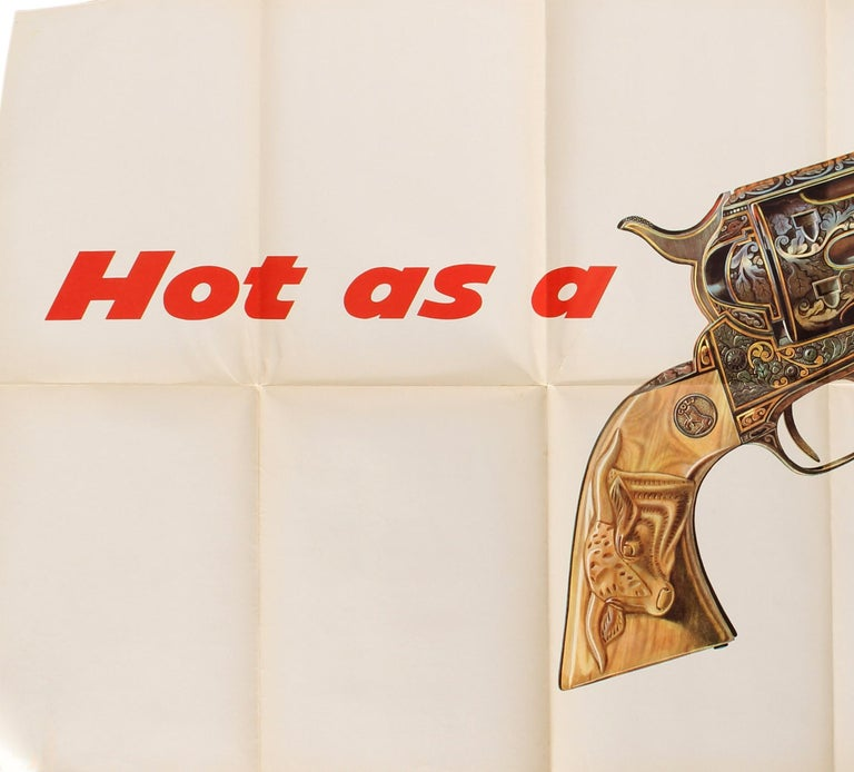 Original vintage car advertising poster for The New De Soto Hot as a smoking gun featuring a great design showing an image of a smoking Colt Texan Jr. revolver pistol gun decorated with detailed patterns including leaves and a buffalo on the handle
