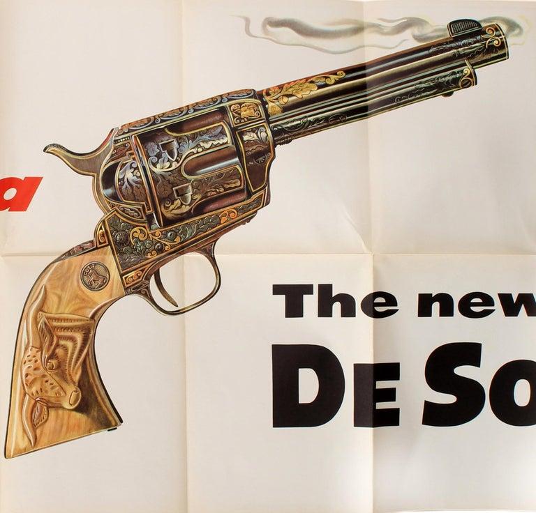 American Original Vintage Poster Hot As A Smoking Gun The New DeSoto Chrysler Car (Large) For Sale