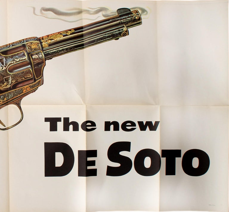 Original Vintage Poster Hot As A Smoking Gun The New DeSoto Chrysler Car (Large) In Good Condition For Sale In London, GB