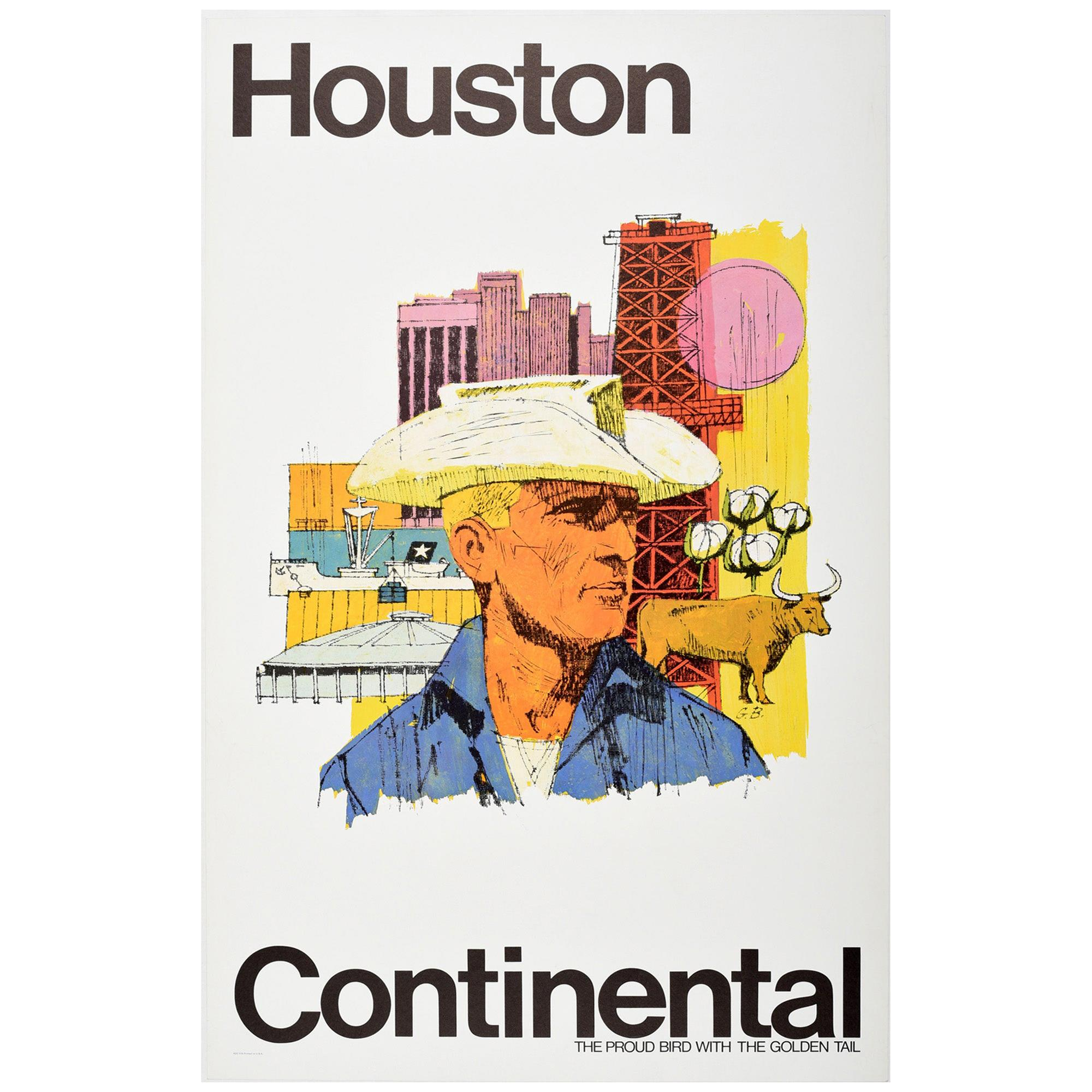 Original Vintage Poster Houston Texas Continental Airlines Travel Art Astrodome