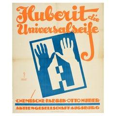 Original Vintage Poster Huberit Die Universalseife Universal Soap Clean Hands Ad