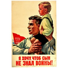 Original Vintage Poster I Don't Want My Son To Know War Soviet Propaganda Peace