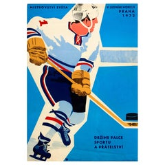 Original Vintage Poster Ice Hockey World Championships Prague Sport & Friendship