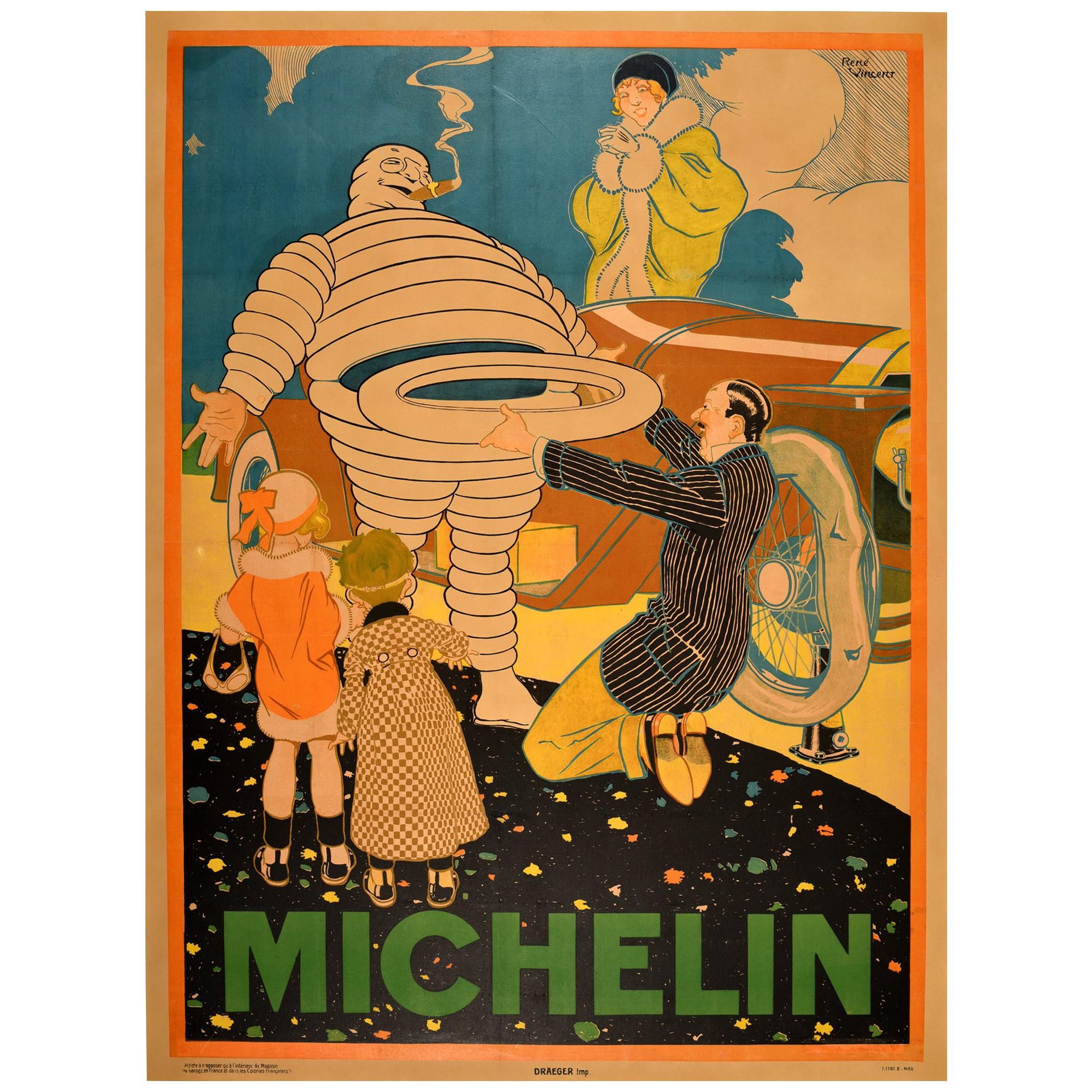 Original Vintage Poster Iconic Michelin Man Bibendum Classic Car New Tire / Tyre