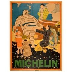 Original Vintage Poster Iconic Michelin Man Bibendum Classic Car New Tire / Tyre