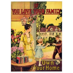 Original Vintage Poster If You Love Your Family Own Your Home Porch Garden Art