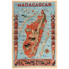 Original Vintage Poster Illustrated Map Madagascar French Colony Industry Travel