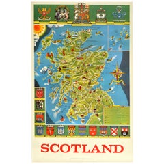 Original Vintage Poster Illustrated Map Of Scotland Sport Travel UK Coat Of Arms
