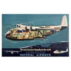 Original Vintage Poster Imperial Airways Empire Flying Boat Canopus Plane Travel