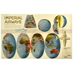 Original Vintage Poster Imperial Airways Planisphere Route Map Aviation History