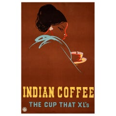 Original Vintage Poster Indian Coffee The Cup That XL's India Drink Coffee Board
