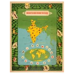 Original Vintage Poster Indian Tea Export Round The World Pictorial Map Design