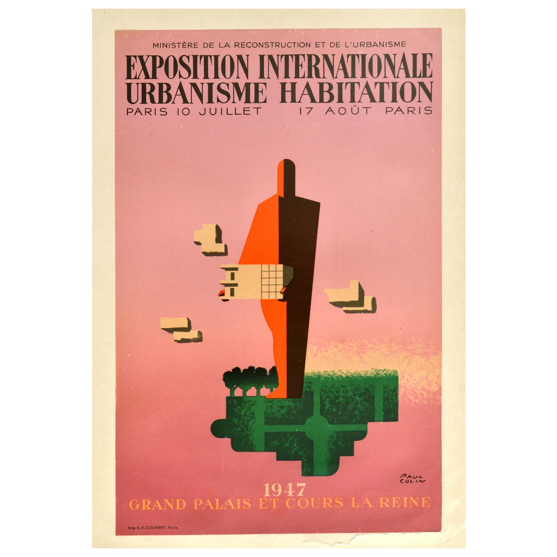 Original Vintage Poster International Exhibition Urbanism Paris Modernist Design