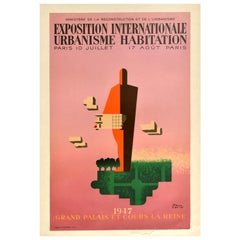 Original Vintage Poster International Exhibition Urbanism Paris Modernist Design
