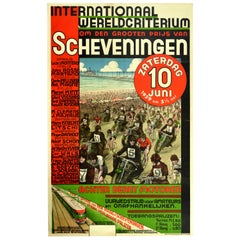Original Vintage Poster International Grand Prix Scheveningen Motorcycle Cycling