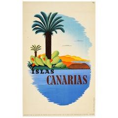 Original Vintage Poster Islas Canarias Spain Canary Islands Travel Palm Tree Sea