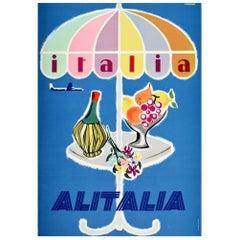 Original Vintage Poster Italia Italy Alitalia Airline Travel Wine Fruit Flowers