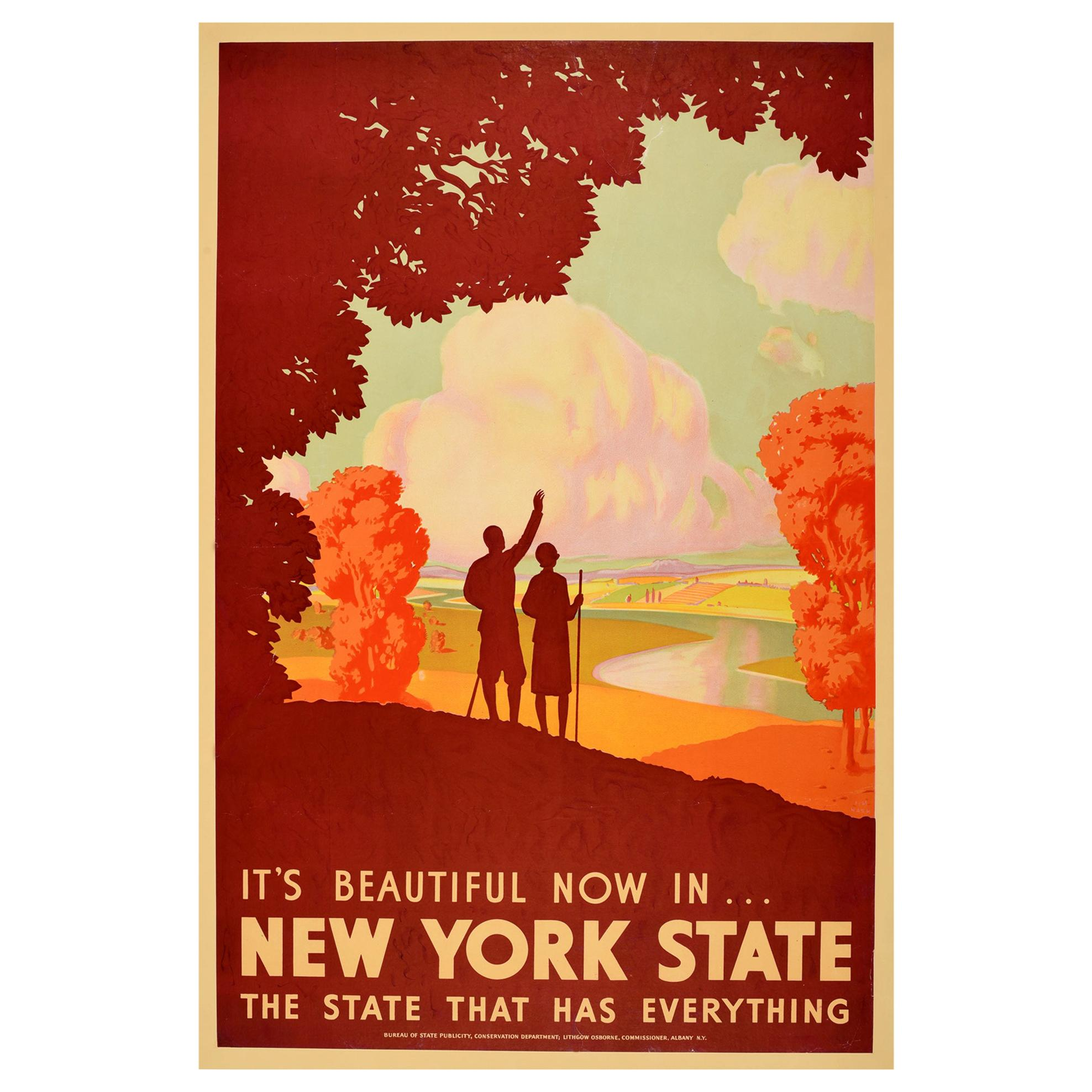 Original Vintage Poster It's Beautiful Now In New York State Travel Hiking Fall