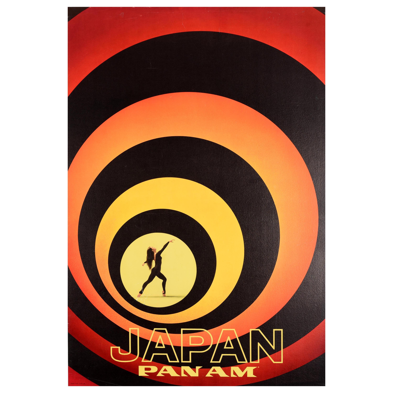 Original Vintage Poster Japan Pan Am Travel Art Dancer James Bond Style Design
