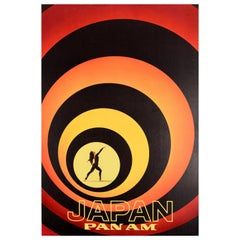 Original Vintage Poster Japan Pan Am Travel Art Dancer James Bond Style Design