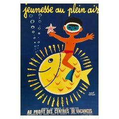 Original Vintage Poster Jeunesse Au Plein Air Boy with Fish by Herve Morvan
