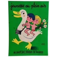 Original Vintage Poster Jeunesse Au Plein Air Children with Duck by Herve Morvan