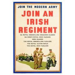 Original Vintage Poster Join The Modern Army Irish Regiment Military Recruitment