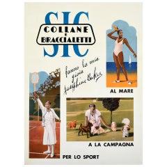 Original Vintage Poster Josephine Baker SIC Collane Braccialetti Tennis Dogs Sea