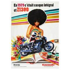 Original Vintage Poster Kawasaki Z1300 Sport Motorcycle Let The Good Times Roll