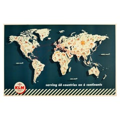 Original Vintage Poster KLM Airline Route Map Travel 68 Countries 6 Continents