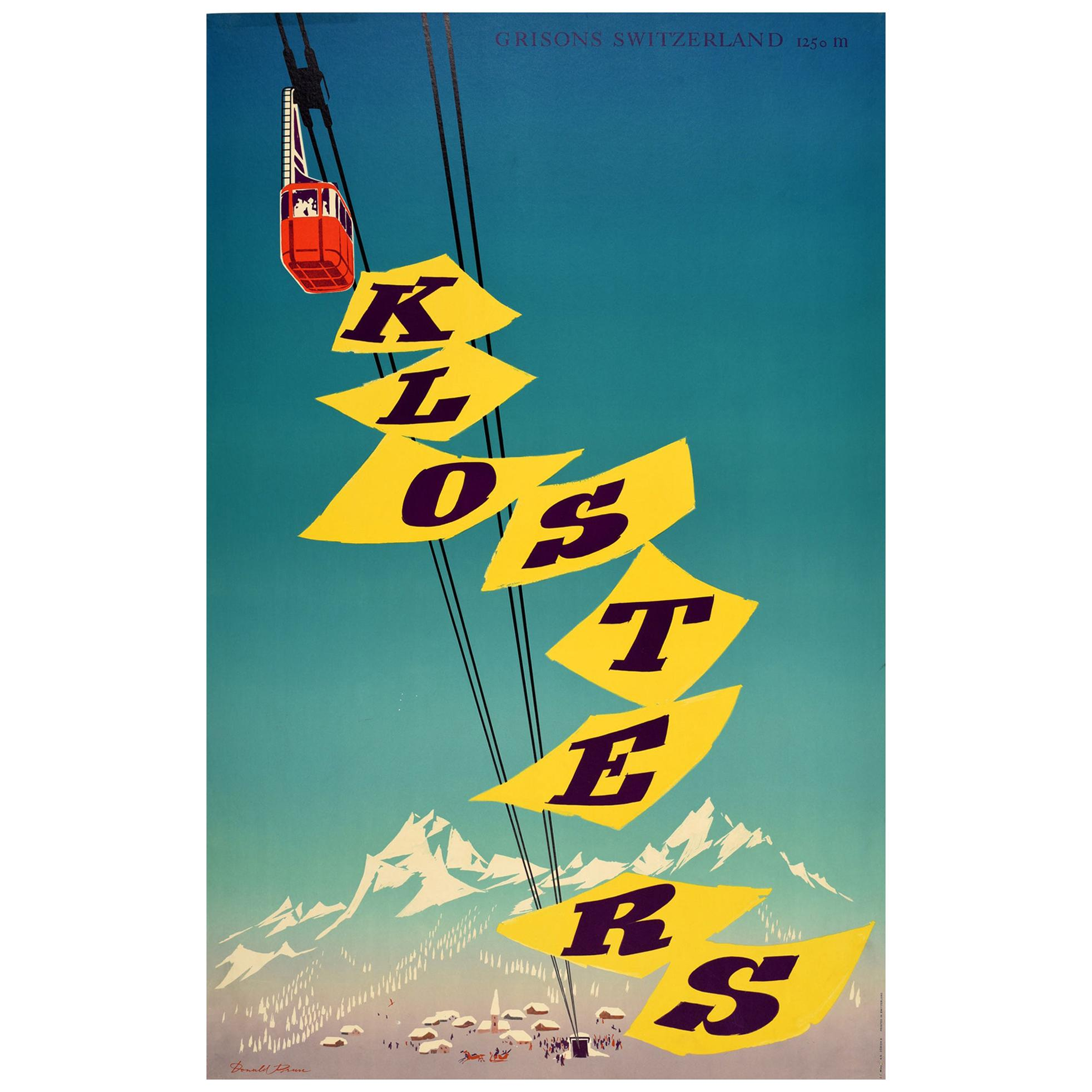 Original Vintage Poster Klosters Alpine Skiing Winter Sport Grisons Switzerland