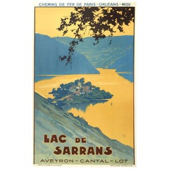 Original Vintage Poster Lac De Sarrans Lake Chemins De Fer Railway Travel France