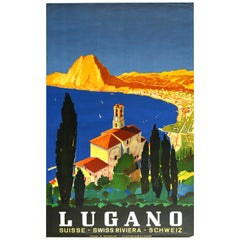 Original Vintage Poster Lake Lugano Swiss Riviera Sailing Mountains Travel Art