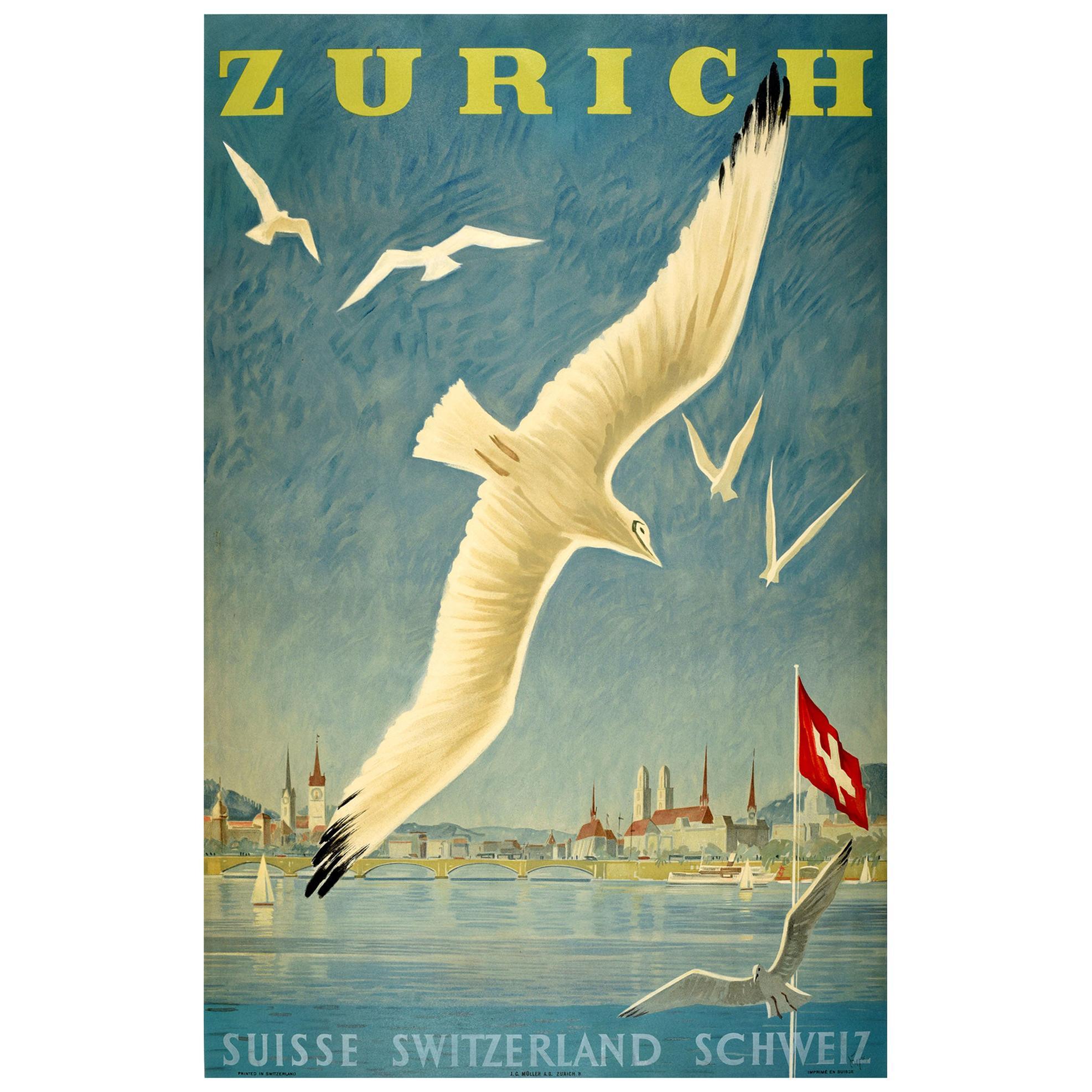 Original Vintage Poster Lake Zurich Switzerland Sailing Swiss Alps Travel Art
