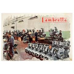 Original Vintage Poster Lambretta Scooter Factory Workshop Advertising Art