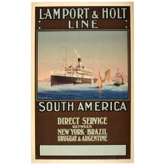 Original Vintage Poster Lamport & Holt Line South America New York Cruise Travel