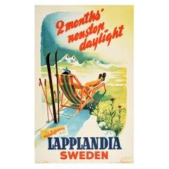 Original Vintage Poster Lapplandia Sweden Midnight Sun Daylight Ski Winter Sport