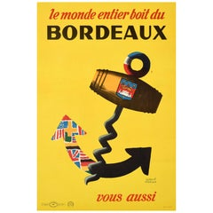 Original Vintage Poster Le Monde Entier Boit Du Bordeaux Wine World Drink France
