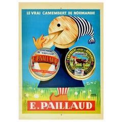 Original Vintage Poster Le Vrai Camembert De Normandie Paillaud Cheese Normandy