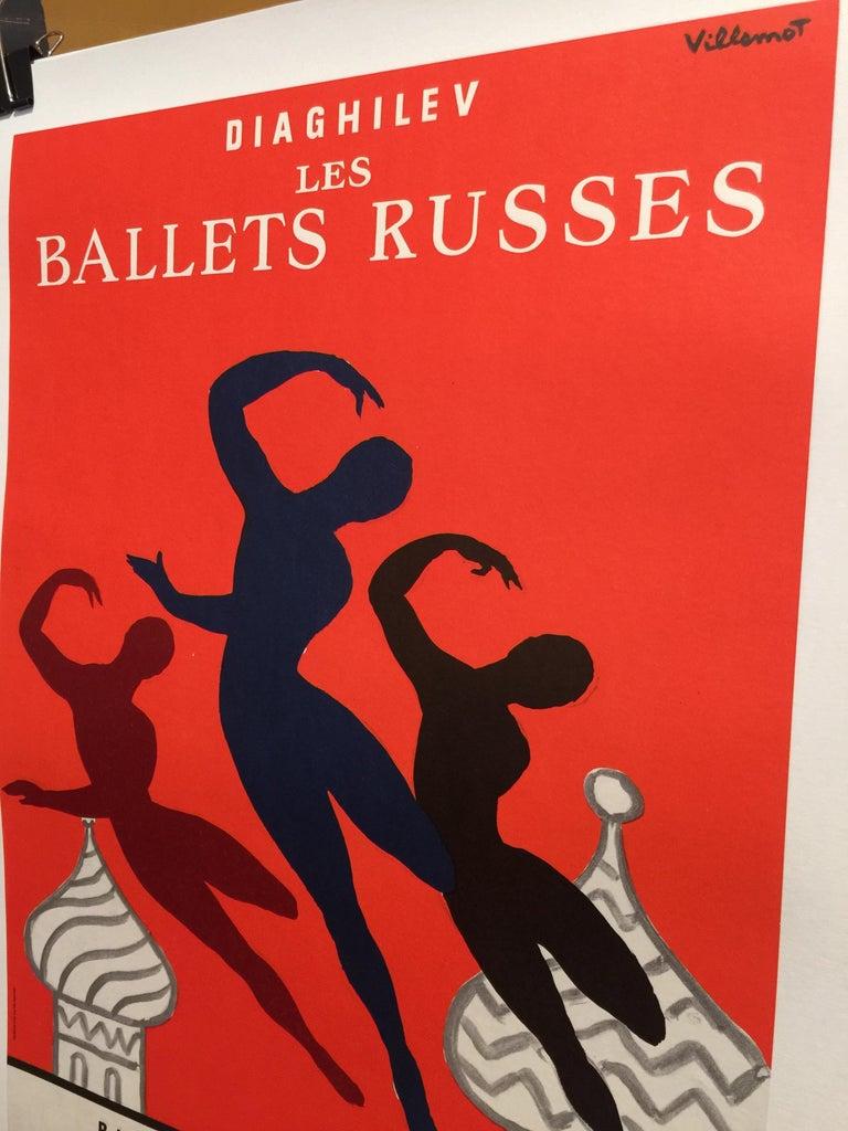 French Original Vintage Poster Les Bellet Russes by Villemot For Sale