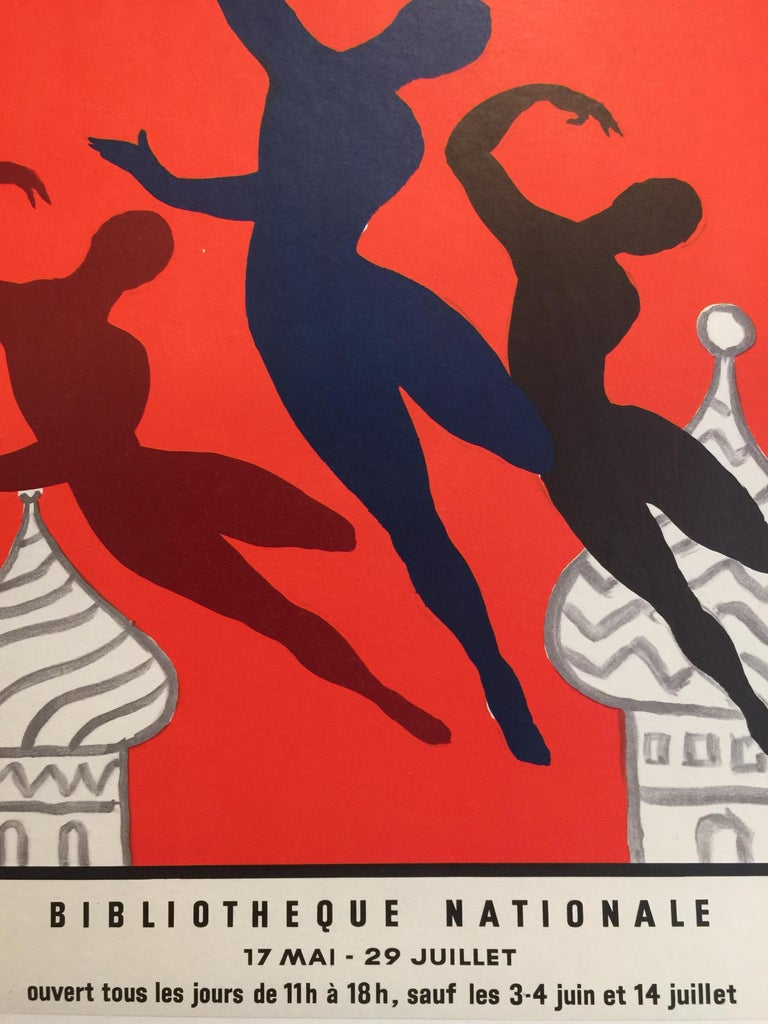Paper Original Vintage Poster Les Bellet Russes by Villemot For Sale